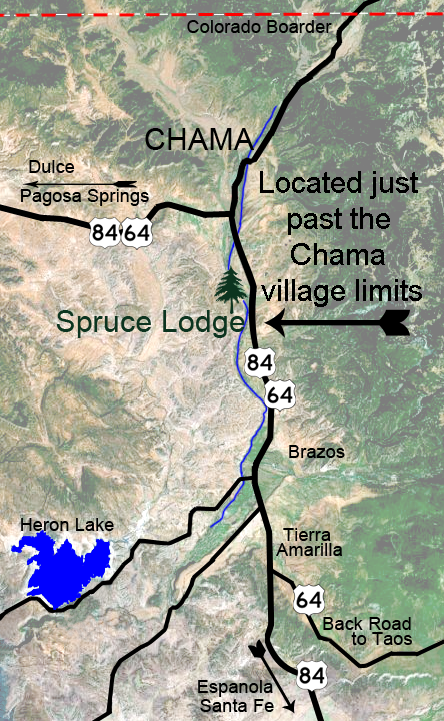 Map to Spruce Lodge